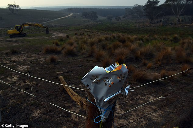 A floral tribute is seen near the crash site on January 24, 2020 in Peak View, Australia
