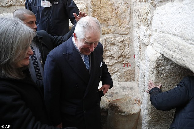 Pictured: Prince Charles visits the Mosque of Omar in Bethlehem