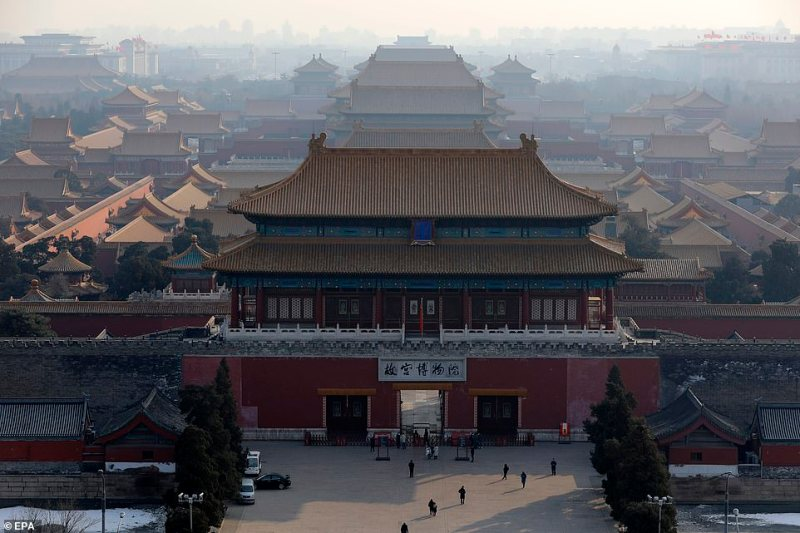 The Forbidden City (pictured today) is also closed and part of the Great Wall of China, a huge tourist destination and one of the Seven Wonders of the World, has been shut to stop the spread of the coronavirus