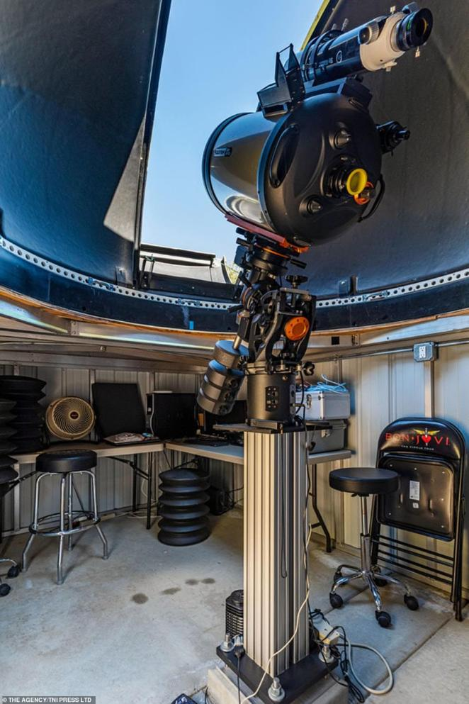 Adding to the outer-space appeal is an observatory with a 14-inch reflector telescope to give residents in this house to catch their own glimpse of the solar system