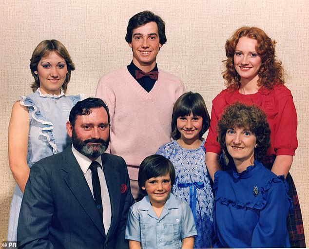 Revel Horwood, aged 18, centre, and his family (from left): sister Diane, dad Phil, brother Trent, sisters Melanie and Sue, and mum Beverley