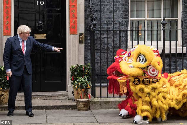 Mr Mnuchin's comments represent a massive boost to Boris Johnson, pictured in Downing Street today celebrating Chinese New Year, who is hoping the prospect of a swift US trade deal will prompt the EU to also move quickly on a future partnership agreement