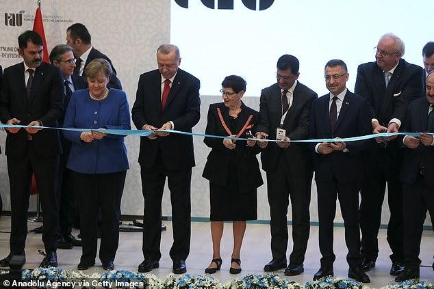 German Chancellor Angela Merkel and Turkish President Recep Tayyip Erdogan attend opening of new buildings of the Turkish-German University