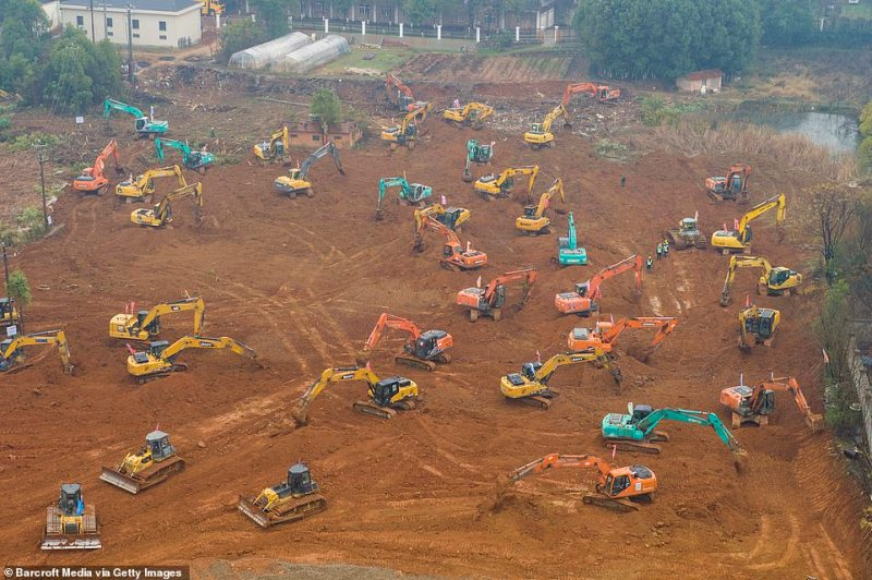 Huge efforts are being made by construction workers in Wuhan to erect a new hospital in less than a week on the government's orders. Officials said the medical facility must be built to cope with overwhelming numbers of coronavirus patients