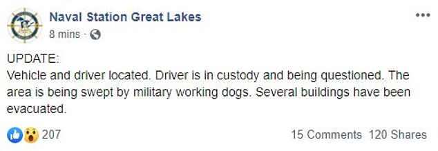 In a Friday update shared on Facebook, the station said that the driver was being questioned in custody as 'military working dogs' were sweeping the area