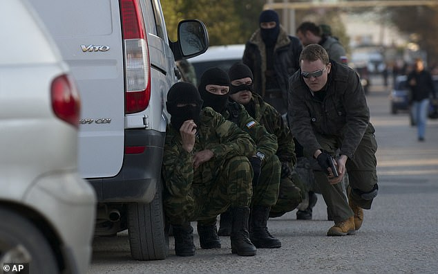As various anti- and pro-government militias emerged, Russian special forces entered Crimea and the Donetsk and Luhansk oblasts beginning around February 27, 2014
