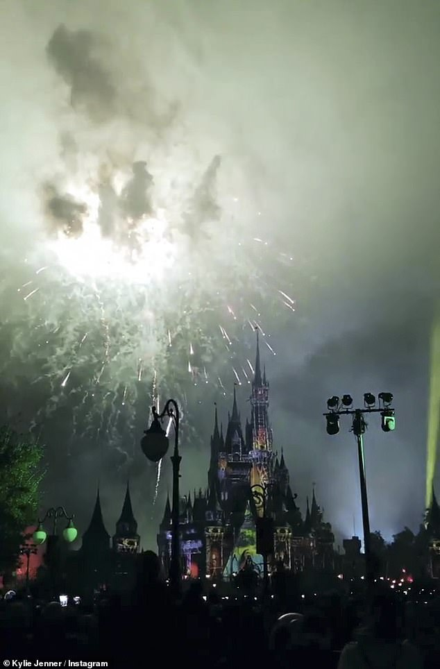 Party time: The family stayed late enough to see the fireworks; seen here is the Magic Castle