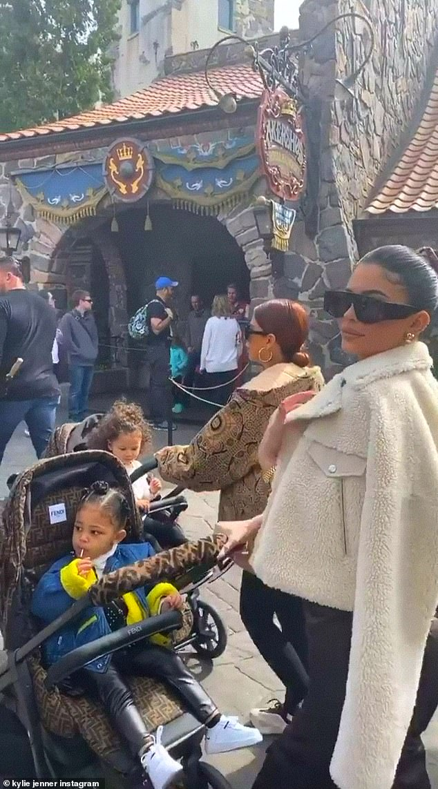 Oh mama: Kylie took to Instagram to share this image where she was pushing a Fendi stroller