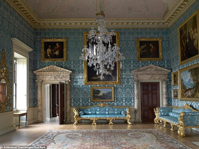 Inside Kedleston Hall, which remains the home of the Curzon family in the Derbyshire Dales
