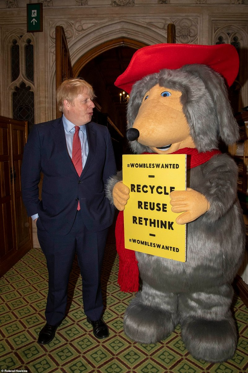 As the Mail asks YOU to join our inspirational litter clean-up... look who's come back to help! (Womble Orinoco meets Prime Minister Boris Johnson at the House of Commons this week)