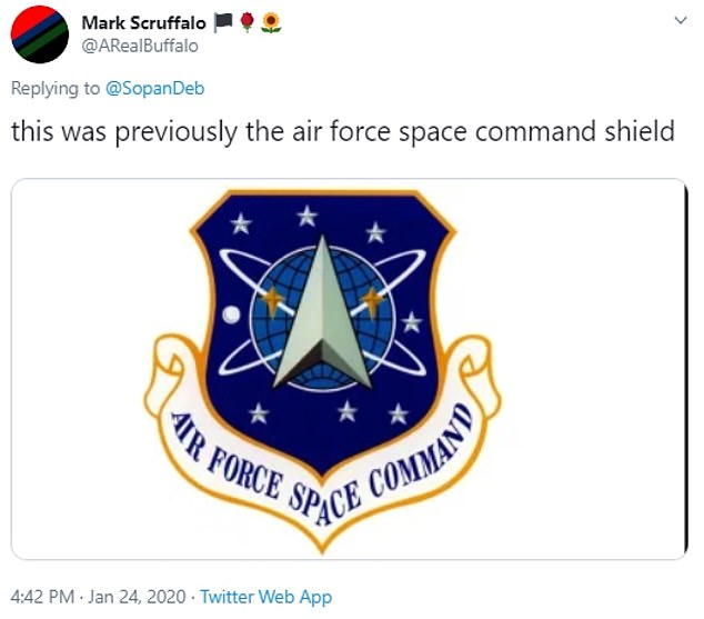 Others on social media noted that the logo also bore a resemblance to other insignia used by the Air Force