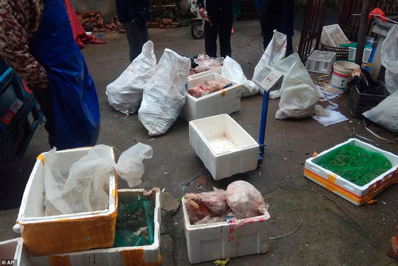 The outbreak of a new virus linked to a wildlife market in central China is prompting renewed calls for enforcement of laws against the trade in and consumption of exotic species (pictured, meat from trafficked wildlife)