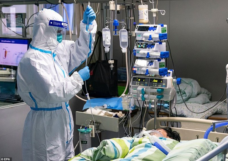 A patient on a drip in the intensive care unit of Zhongnan Hospital at the University of Wuhan