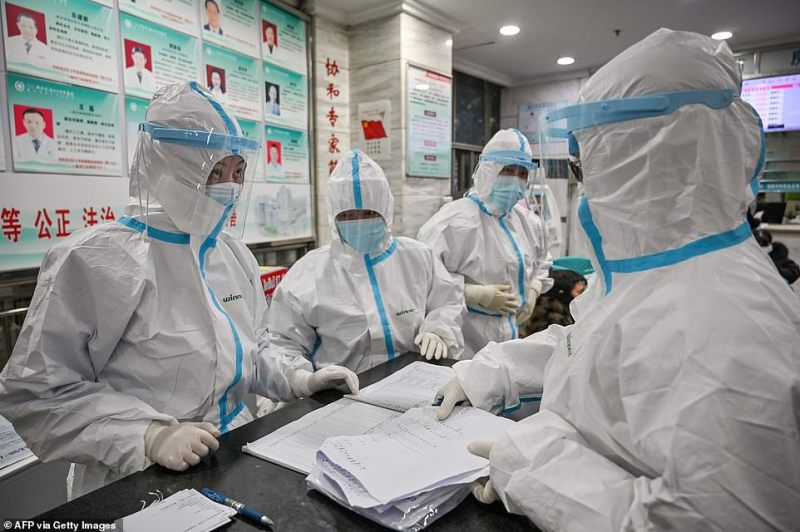 Britons stuck in the city include 81-year-old grandmother Veronica Theobald, from Lancaster. The streets of Wuhan remained quiet today as medical professionals rushed to treat those infected (Pictured on Saturday at Wuhan Red Cross Hospital)
