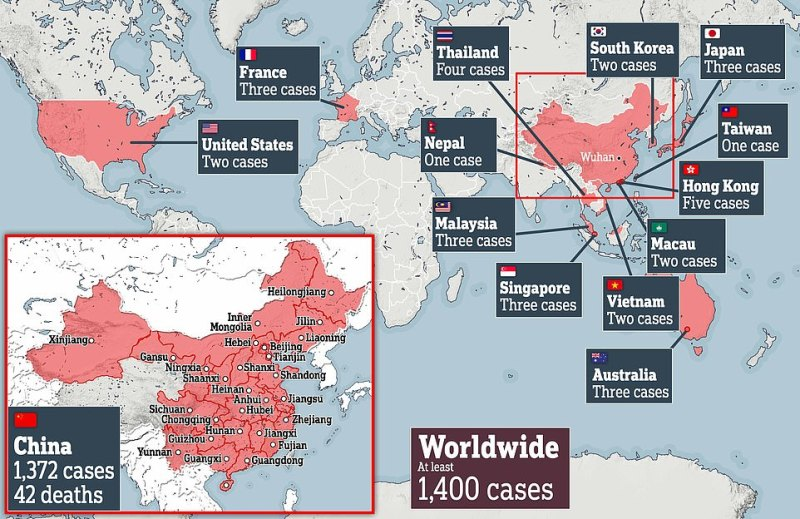 The scale of the outbreak as of 10pm on Sunday. Only three cases have been reported in the UK so far, while the majority are being reported in China