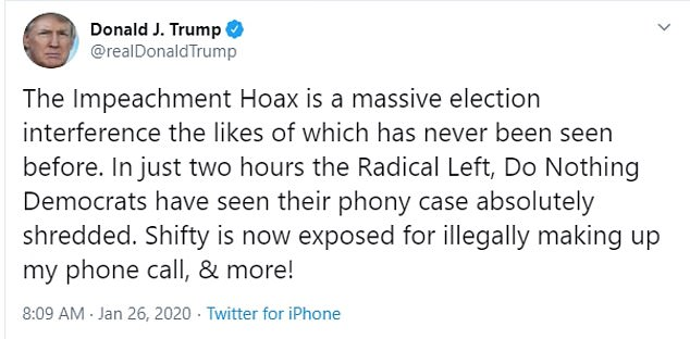 He also made reference to the House's impeachment inquiry where the Intelligence chairman claimed he was doing a 'parody' of Trump's call with his Ukrainian counterpart when he mischaracterized the president's words