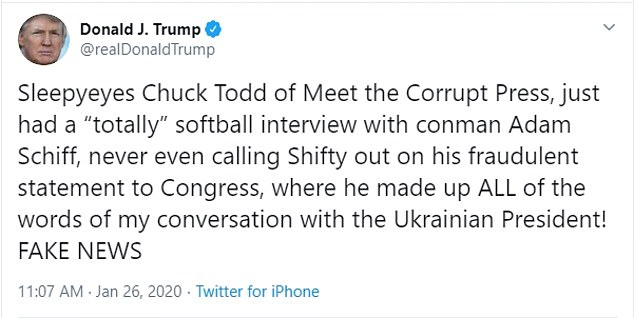Trump slammed the interview, claiming it was a 'softball' and he called Schiff a 'conman'