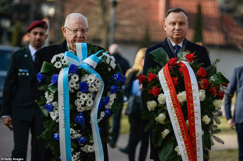 President of Israel, Reuven Rivlin and the President of Poland, Andrzej Duda arrive to lay wreaths in front of the Monument to Rotamaster WitoldPilecki.During World War II, Pilecki volunteered for a Polish resistance operation that involved being imprisoned in the Auschwitz concentration camp in order to gather intelligence