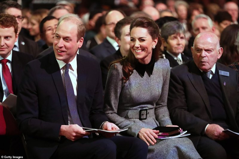 The Duke and Duchess took their positions among the audience prior to the start of the ceremony, which will feature testimony from survivors of the Holocaust