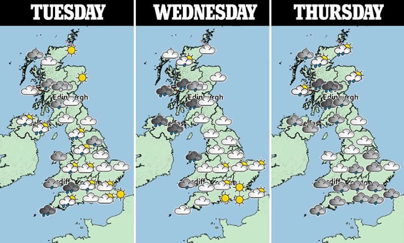 The three day weather forecast above shows that rain will be prominent across the next three days