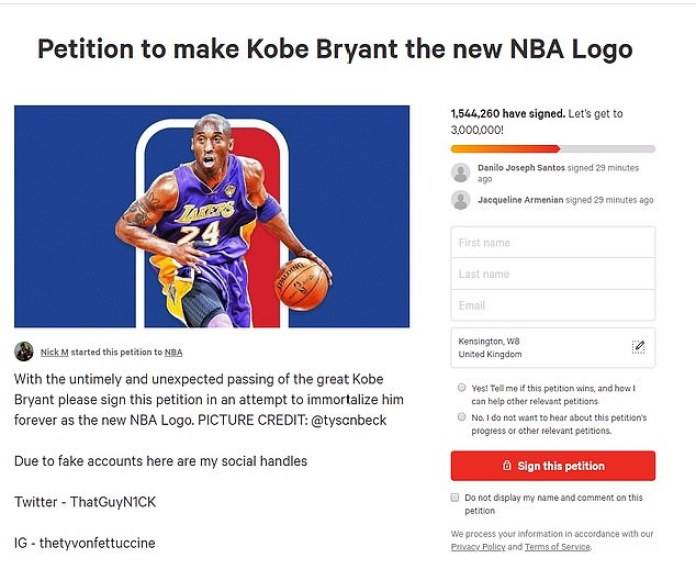 Resultado de imagen para Fans & Celebs Call For NBA To Change Their Logo In Tribute To Kobe Bryant