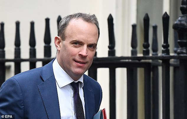 Foreign Secretary Dominic Raab was also in Downing Street for the crucial discussions today