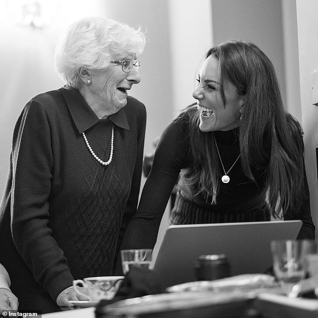 Jessica said: 'Pretty pictures are pretty pictures', which was seen by some as a dig at Kate Middleton, 38, following the release of the royal's Holocaust portraits. Pictured: The Duchess of Cambridge with Yvonne Bernstein, who she photographed