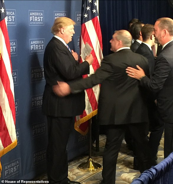 Lev Parnas with Donald Trump at the America First Action Superpac Leadership Summit at Trump Hotel Washington D.C. June 18 or 19 2018. Also partially visible right, Donald Trump Jr