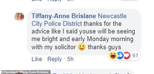 'Thanks for the advice like I said youse [sic] will be seeing me bright and early Monday morning with my solicitor. Thanks guys,' she once again responded