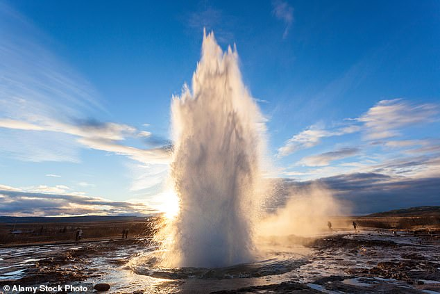 Dramatic: The Strokkur Geyser, pictured, located in the Golden Circle in Iceland
