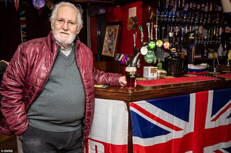 Steve Bounds 69 retired architectural consultant at the Robin Hood Inn where they are celebrating Brexit in Boston, Lincolnshire, one of the most Leave-voting areas in the country.