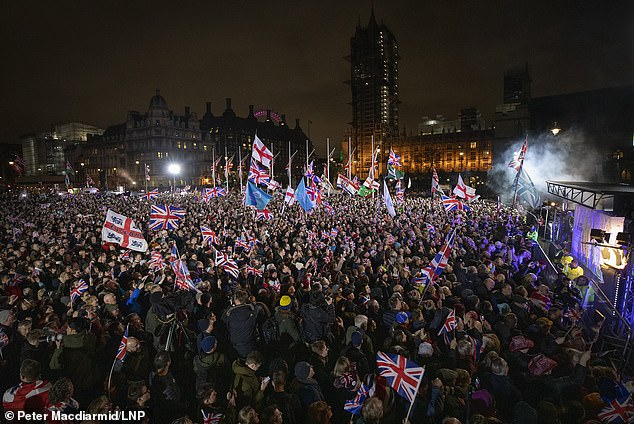 Jubilant Brexiteers heralded the moment with celebrations across the country, including a flagship bash in London's Parliament Square