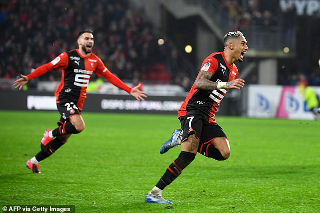 Rennes goalscorer Raphinha races away after sealing an incredible win against Nantes
