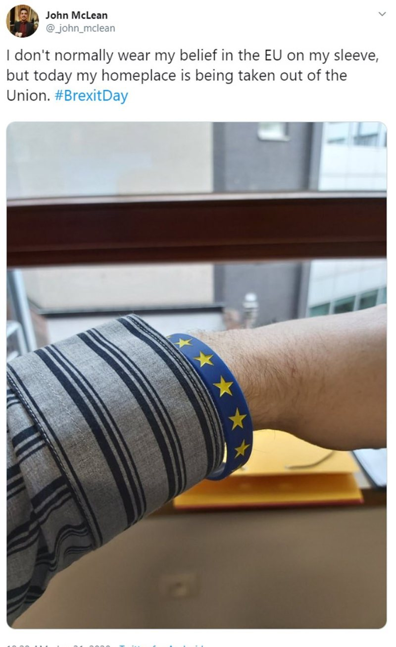 Others wore wristbands celebrating the European Union as the country prepares to exit this evening