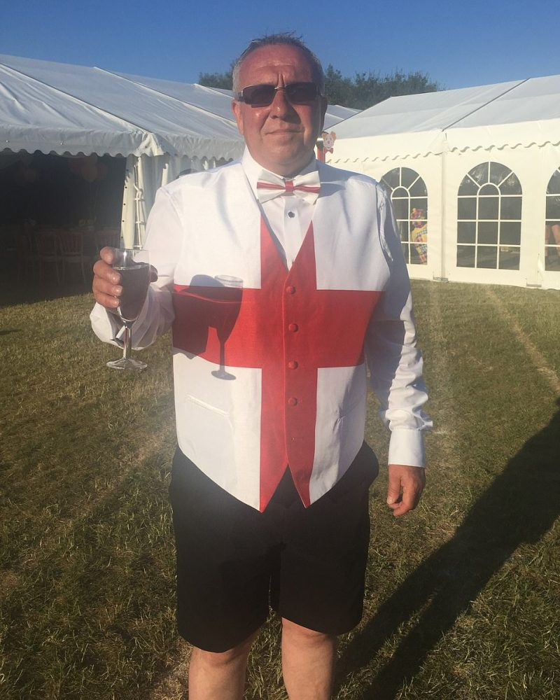 Bill Bailey (pictured), the landlord of the Cricketers in Westbourne, West Sussex, - who is also organising a Brexit Party - said celebrations had been a long time coming
