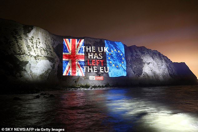 The massive change was also recorded in lights on the white cliffs of Dover as the UK came to terms with the new reality