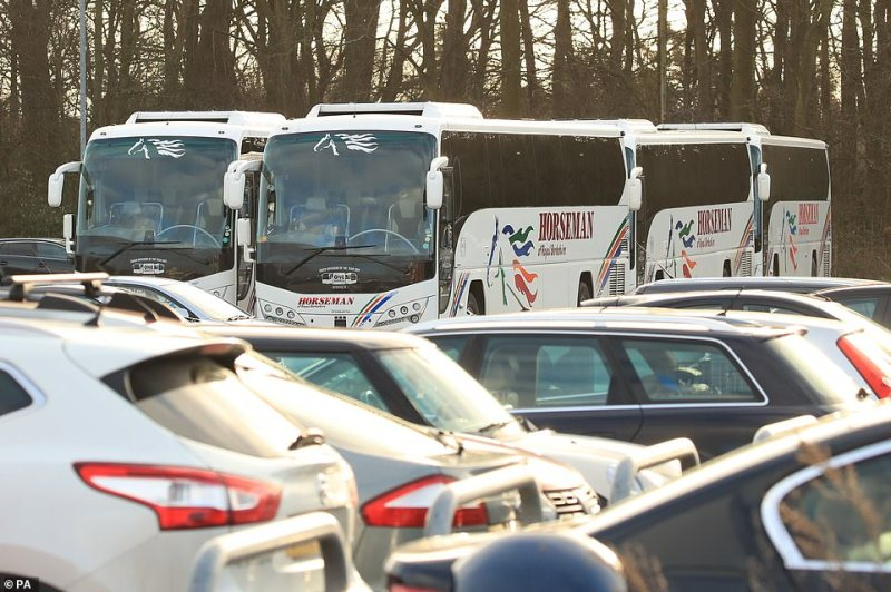 Coaches used to transport British nationals from RAF Brize Norton to Arrowe Park Hospital in Merseysidesit parked in the hospital's staff car park today. The coaches where used to transport Britons who are now under quarantine following their return from the coronavirus-hit city of Wuhan in China