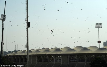 Gafanhotos sobrevoam o Estádio Nacional de Críquete, na cidade portuária de Karachi, no Paquistão