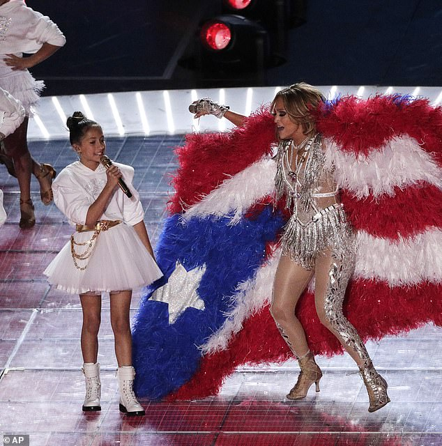 Proud: Lopez said she cherished being able to bring her daughter Emme, 11, onstage to perform Let's Get Loud