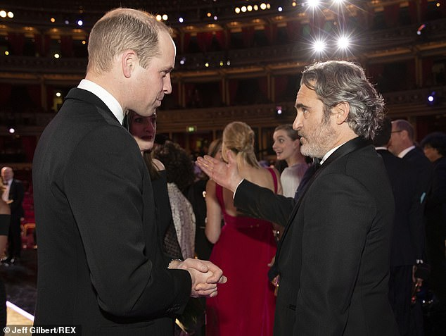 Royal greeting: The Joker star Joaquin Phoenix curtsied to Prince William when the pair met following the BAFTAs in London on Sunday night. It is one of a string of recent examples of Hollywood stars poking fun at the royal family, with varying levels of success