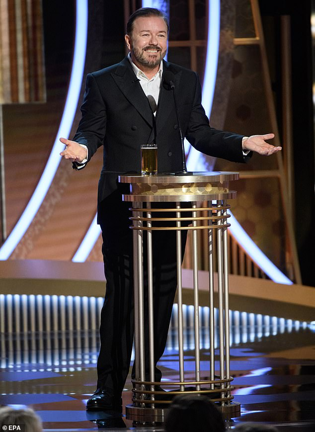 In the firing line: Ricky Gervais used Prince Andrew's controversial relationship with paedophile Jeffrey Epstein to make a joke about Leonardo di Caprio's string of younger girlfriends during his opening monologue at the Golden Globes last month (pictured)
