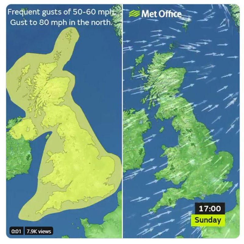 Forecasters are warning of a washout for the majority of Brits for Saturday and Sunday, with very high winds set to combine with heavy rainy spells that could last well into next week