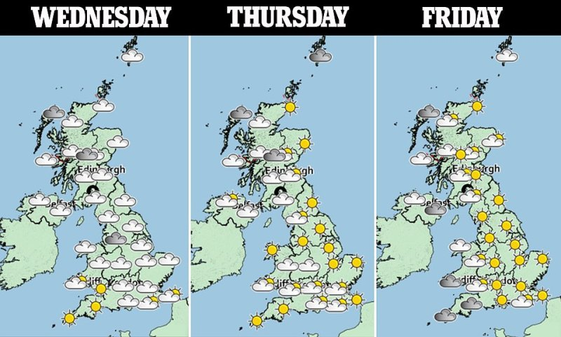 Over the coming days, many will experience more settled conditions before winds and rain develop from the west on Friday