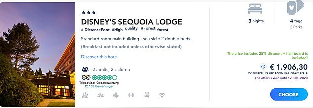 A family of four could stay at Sequoia Lodge with park tickets for four days between August 3 and August 6, half board, for £1,619 (1,906 euros) by booking on the German site