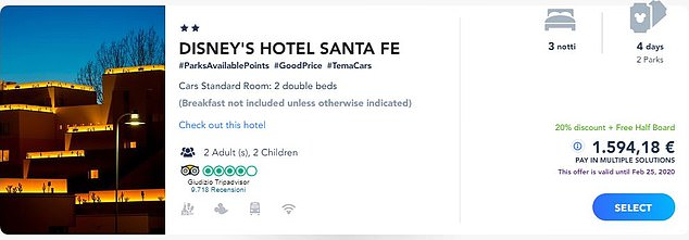 The Italian site shows that the price at the Santa Fe Hotel for a family of four on August 3 to August 6 is £1,354 (1,594 euros) - but this includes half board