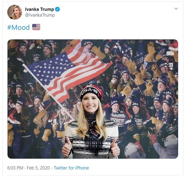 Ivanka Trump tweeted a photo of herself in a USA hat to celebrate Trump's acquittal