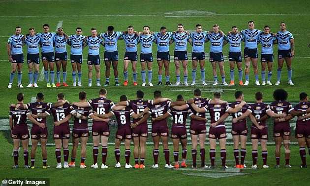 At least six indigenous players refused to sing the national anthem during last year's State of Origin (national anthem before game one in 2019 pictured)
