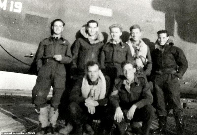 Jim Auton (middle, back row) is pictured with members of the Warsaw Air Bridge, the crew who flew to Warsaw and sent secret supplies to resistance fighters in Poland, 1944