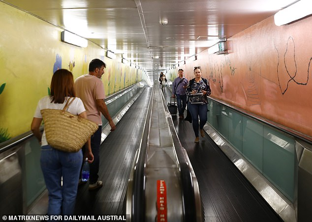 Most moving walkways are now found in airports and the Domain structure (pictured)  is still touted as the longest in the Southern Hemisphere. Separate walkways run side-by-side in each direction through a tunnel. Standing still, the journey takes about five minutes