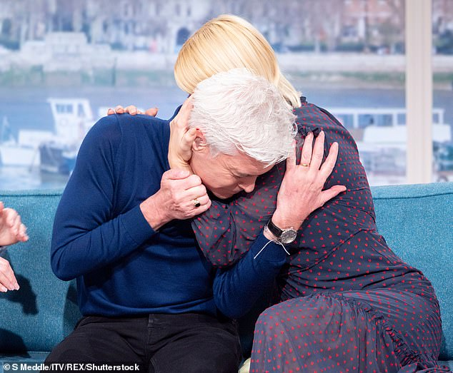 Emotional:The television star then appeared on This Morning's sofa on Friday to be interviewed by his best friend and co-host Holly, 38, as the two broke down in tears over the heartfelt announcement
